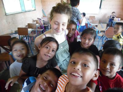 volunteer with kids at school